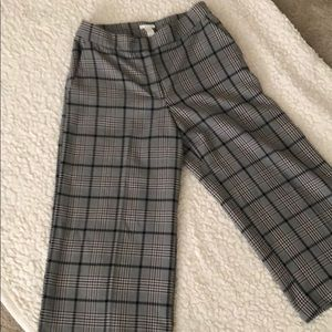 Cropped wide leg plaid pant